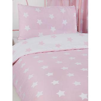 Pink and White Stars 4 in 1 Junior Bedding Bundle Set