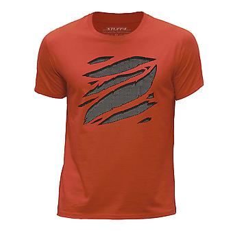 STUFF4 Boy's ronde hals T-T-shirt/grote Rip/grijs Carbon Fibre/oranje