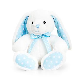 Quilla juguetes 25cm bebé conejo manchada de blanco y azul peluche