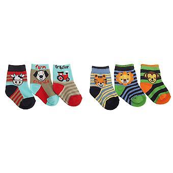 Disegno animale bambino Boys elasticizzati calze (pacco da 3)
