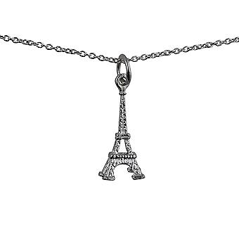 Silver 17x9mm Eiffel Tower Pendant with a rolo Chain 24 inches