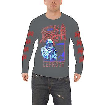 Death T Shirt Leprosy Posterized Official Mens Vintage Wash Long Sleeve Charcoal