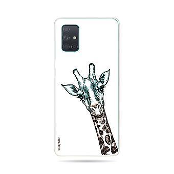 Runko Samsung Galaxy A71 joustava kirahvi pää valkoisella taustalla