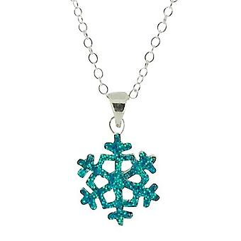 Jo For Girls Sterling Silver Blue Glittery Snowflake Pendant Necklace 14