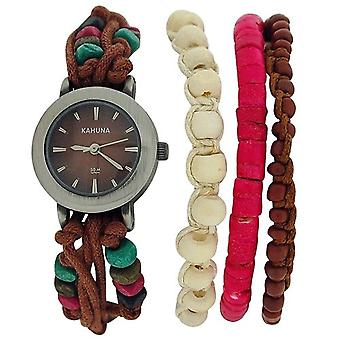 - Lot of 10Pcs Kahuna Ladies Brown String Bead Bracelet Toggle Watch AKLF-00011L