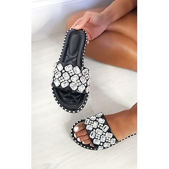 IKRUSH Womens Zina Jewelled Slip On Sandals