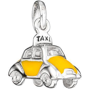 الاطفال قلادة سيارة / تاكسي 925 الفضة مع الورنيش الأصفر إدراج قلادة الأطفال