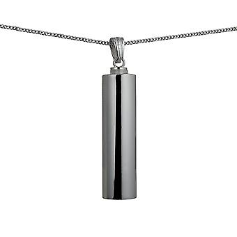 Silver 43x11mm handmade plain round Memorial Cylinder with a curb Chain 24 inches