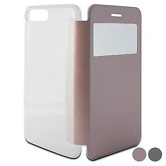 Folio Mobiltelefon fall Iphone 8 Plus / 7 Plus KSIX Crystal View / Svart