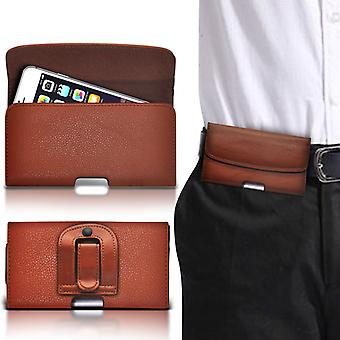(Brown horizontal belt) ) Case For Xiaomi Redmi 2A Enhanced Edition PU Leather Belt Clip Pouch Holster Cover By i-Tronixs