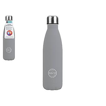 B&Co 500Ml Bottle Flask Rubberised Grey Finish
