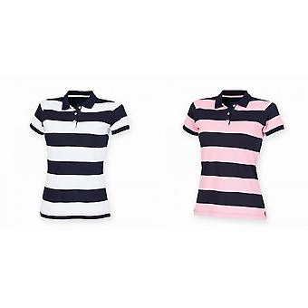 Front Row Womens/Ladies Striped Pique Slim Fit Polo Shirt