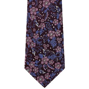 Michelsons of London Classic Floral Silk Tie - Wine