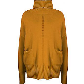 Yellow Label Mustard High Neck Oversized Jumper