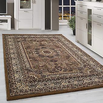 Orient Teppich Bordüre Design Traditionelles Muster Farbe Beige Wohnteppich