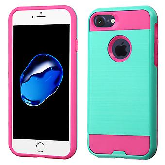Asmyna Brushed Hybrid Protector Case for iPhone 8/7 - Teal Green/Hot Pink