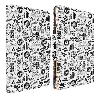 """Folio Cover with Card Slots & Stand for 10 / 11"""" Tablet- Printed Logo- White"""