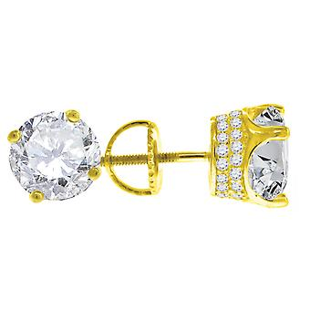 925 Sterling Silver Yellow tone Mens CZ Cubic Zirconia Simulated Diamond 8mm White Stone Stud Earrings Jewelry Gifts for