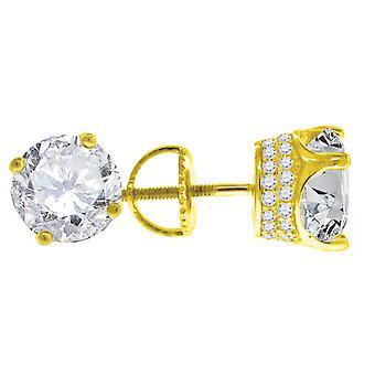 925 Sterling Silver Amarelo tom Mens CZ Cubic Zirconia Simulado Diamante 8mm Brincos de Pedra Branca Brincos joias para