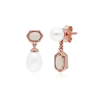 Moderne Perle & Opal nicht übereinstimmende Tropfen Ohrringe in Rose vergoldet Sterling Silber 270E031001925