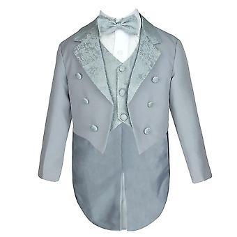 Boys 5 PC Dove Grey Tuxedo Christening Suit