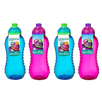 Sistema Set of 4 Twist and Sip Bottles 330ml, Blue and Pink