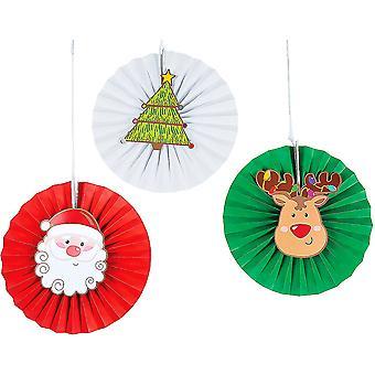 12 Kerst karakter 35cm opknoping tissue papier ventilator decoraties