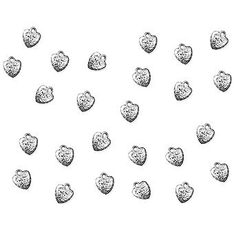 25 Embossed Silver Metal Heart Charms for Card Making Embellishments