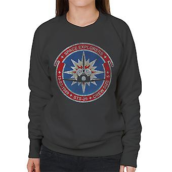NASA STS 29 Discovery Mission Badge Distressed Women's Sweatshirt