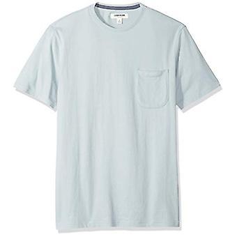 Goodthreads Men's Short-Sleeve Sueded Jersey Crewneck Pocket T-Shirt, Light Aqua, Small