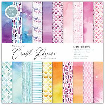 Craft Consortium Essential Craft Papers 12x12 Inch Paper Pad Watercolours
