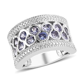 Band Tanzanite Ring for Women Sterling Silver Platinum Plated , 1.5 Ct TJC