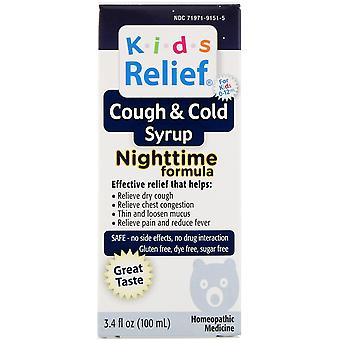 Homeolab USA, Kids Relief, Cough & Cold Syrup, Nighttime Formula, For Kids 0-12