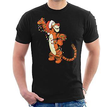 Disney Christmas Tigger Holder Festlig Lys Menn's T-skjorte