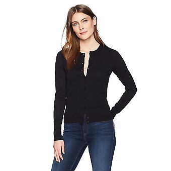 Lark & Ro Women's Long Sleeve Mid-Length Crewneck Cardigan Sweater, Black,Large