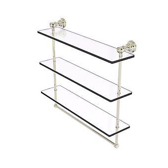Carolina Colección 22 pulgadas Triple Glass Estante con barra de toalla - níquel pulido