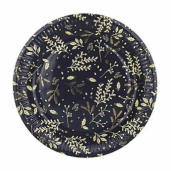 Christmas Navy Plates x 8 - Christmas Partyware