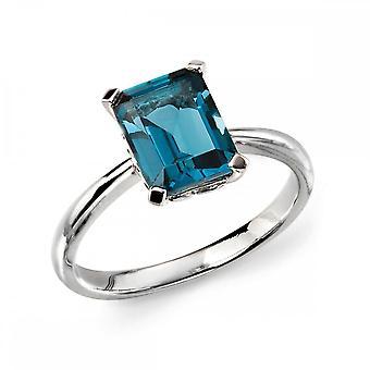 Elements kulta elementit 9ct valkoinen kulta London Blue Topaz Ring GR504T