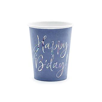 Blue Happy B'day Paper Party Cups x 6 Birthday Party Tableware