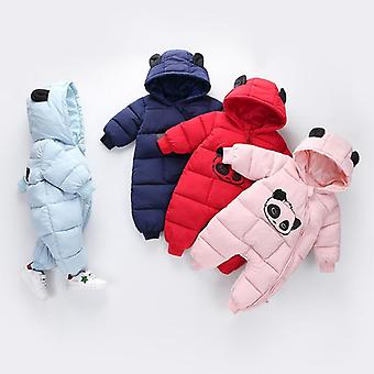 Cute Panda Design Winter Hooded Rompers Thick Cotton Outfit For Newborn Boys