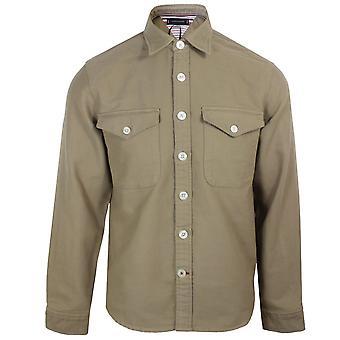 Tommy hilfiger men's batique khaki moleskin overshirt