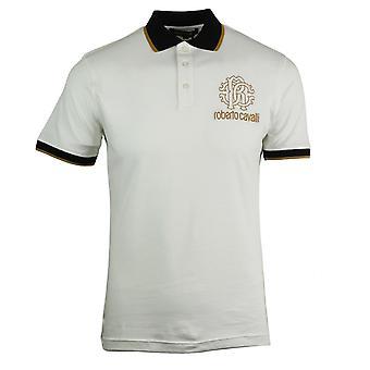 روبرتو كافالي كريست شعار قميص بولو أبيض