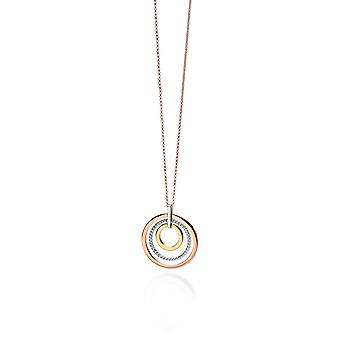 Fiorelli Silver Womens 925 Sterling Silver, Yellow Gold & Rose Gold Placage Open Round Disc Pendentif Collier de longueur 76cm