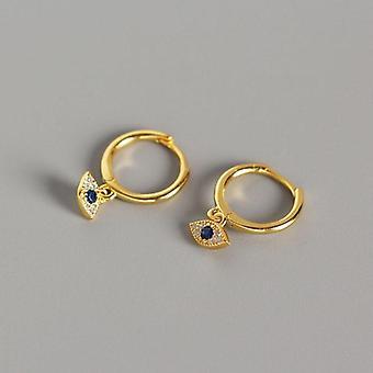 Sterling Silver Jewelry, Mini Blue Zircon, Evil Eyes Earring Pendant, Small
