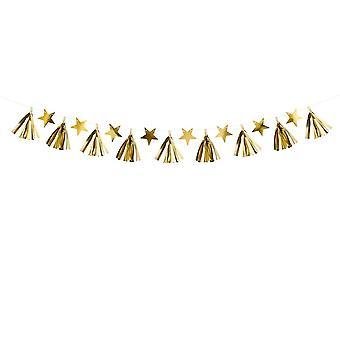 Gold Tassel et Star Garland - Décoration de mariage de Noel 2m