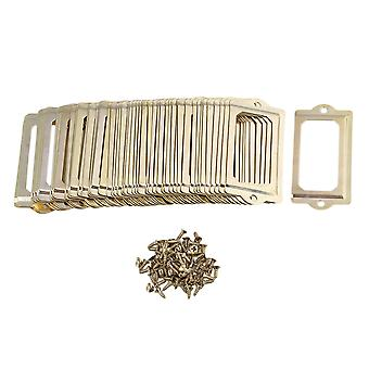 50 Pieces 70x33mm Antique Style Golden Drawer Cabinet Label Frame Card
