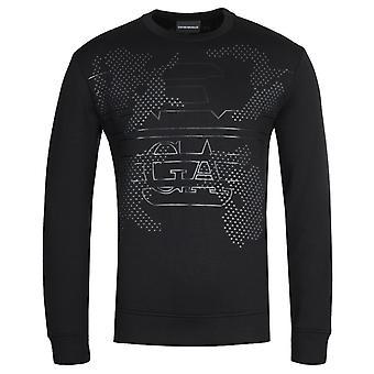 Emporio Armani Micro-Studded Stencilled Eagle Black Sweatshirt
