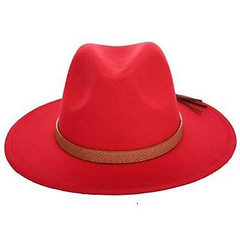 Femmes Large Brim Wool Felt Jazz Fedora Panama Style Trilby Gambler Hat