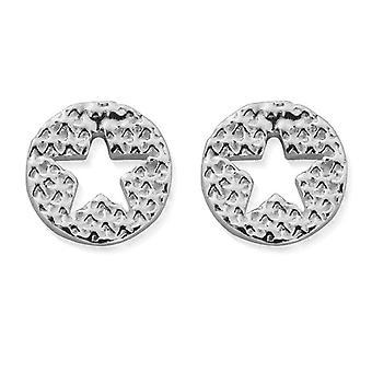 ChloBo SEST3072 Women's Sparkle Star In Circle Stud Earrings