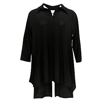 Women With Control Women's Petite Top 3/4 Sleeve Tunic Black A290084